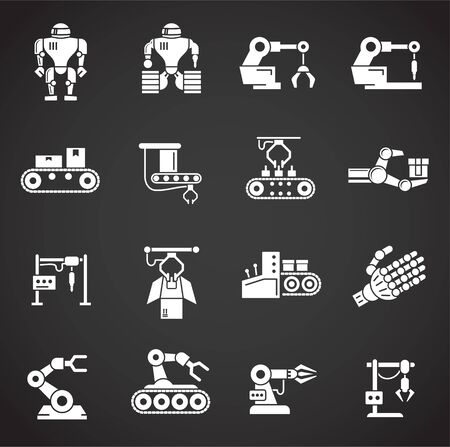Robotic manufacture related icons set on background for graphic and web design. Creative illustration concept symbol for web or mobile app Иллюстрация