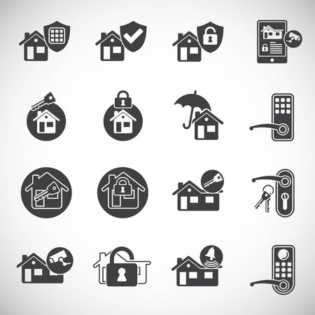 Smart security related icons set on background for graphic and web design. Creative illustration concept symbol for web or mobile app