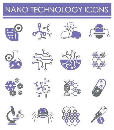 Nano tech related icons set on background for graphic and web design. Creative illustration concept symbol for web or mobile app.