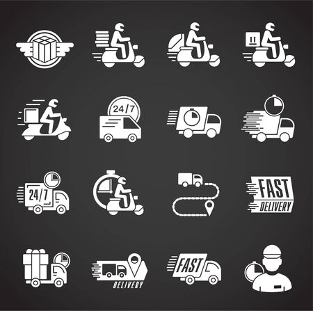 Express delivery related icons set on background for graphic and web design. Creative illustration concept symbol for web or mobile app.