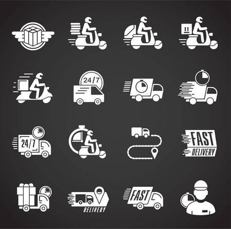 Expresslieferungsbezogene Symbole im Hintergrund für Grafik- und Webdesign. Kreatives Illustrationskonzeptsymbol für Web oder mobile App.