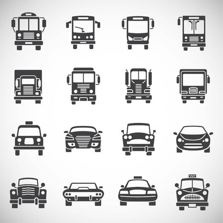 Car related icons set on background for graphic and web design. Creative illustration concept symbol for web or mobile app. Ilustracja
