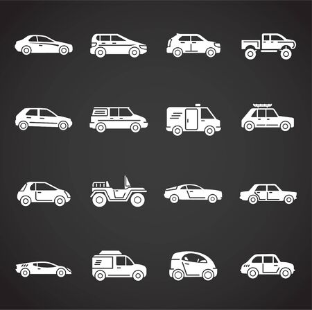 Car related icons set on background for graphic and web design. Creative illustration concept symbol for web or mobile app. Stock Illustratie