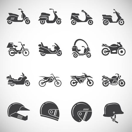 Motorcycle related icons set on background for graphic and web design. Creative illustration concept symbol for web or mobile app.