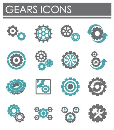 Gear icons set on background for graphic and web design. Creative illustration concept symbol for web or mobile app.