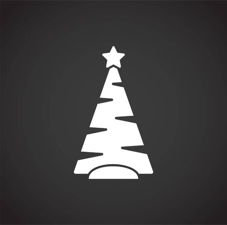 Christmas tree icon on background for graphic and web design. Creative illustration concept symbol for web or mobile app Foto de archivo - 139774928