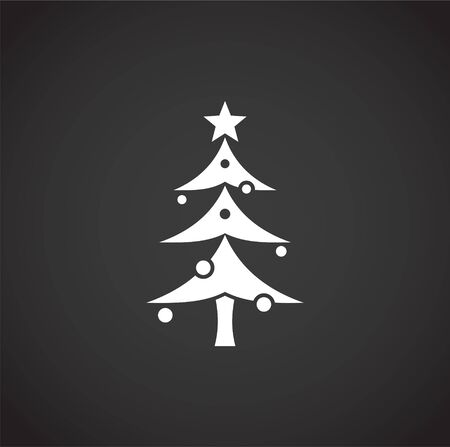 Christmas tree icon on background for graphic and web design. Creative illustration concept symbol for web or mobile app Foto de archivo - 139774890