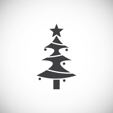 Christmas tree icon on background for graphic and web design. Creative illustration concept symbol for web or mobile app Foto de archivo - 139774865