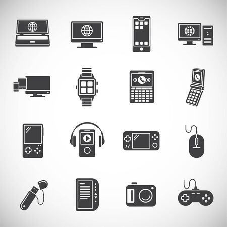 Digital devices related icons set on background for graphic and web design. Creative illustration concept symbol for web or mobile app. Ilustracja
