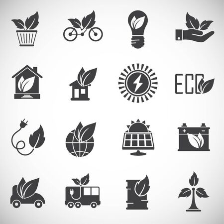 Eco friendly related icons set on background for graphic and web design. Creative illustration concept symbol for web or mobile app. Ilustracja