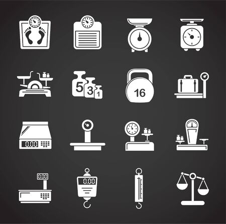 Scales related icons set on background for graphic and web design. Creative illustration concept symbol for web or mobile app.