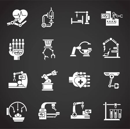 Robotic surgery related icons set on background for graphic and web design. Creative illustration concept symbol for web or mobile app.