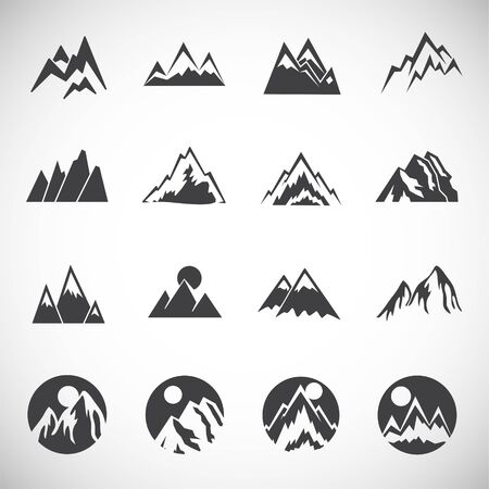 Mountain related icons set on background for graphic and web design. Creative illustration concept symbol for web or mobile app