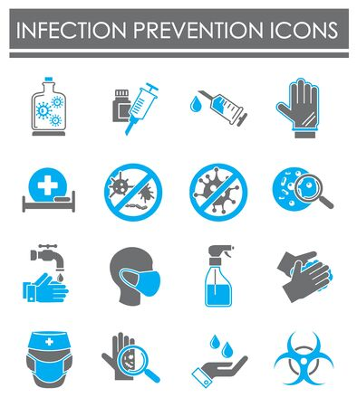 Infection prevention related icons set on background for graphic and web design. Creative illustration concept symbol for web or mobile app Ilustracja