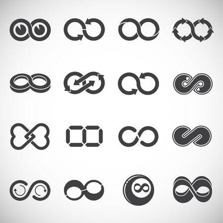 Icônes de signe infini définies sur fond pour la conception graphique et web. Symbole de concept d'illustration créative pour le web ou l'application mobile