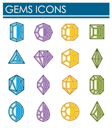 Gem stone icons set on background for graphic and web design. Creative illustration concept symbol for web or mobile app
