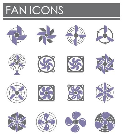 Fan icons set on background for graphic and web design. Creative illustration concept symbol for web or mobile app