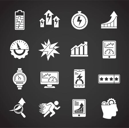 High performance related icons set on background for graphic and web design. Creative illustration concept symbol for web or mobile app