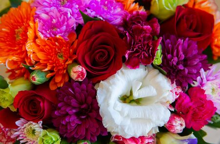 Bouquet with flower blossom. Floral background. Shallow depth photo. Soft toned colors.