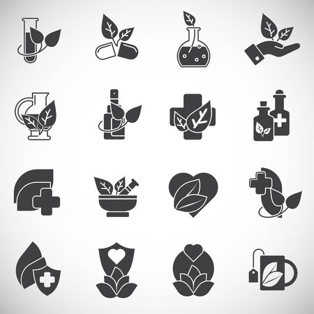 Natural medicine related icons set on background for graphic and web design. Creative illustration concept symbol for web or mobile app.