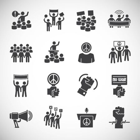 Activism related icons set on background for graphic and web design. Creative illustration concept symbol for web or mobile app Ilustración de vector