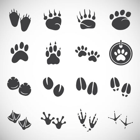 Animal foot print icons set on background for graphic and web design. Creative illustration concept symbol for web or mobile app.