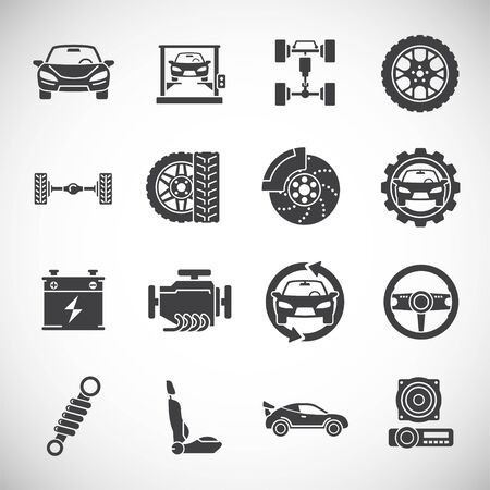 Car tuning related icons set on background for graphic and web design. Creative illustration concept symbol for web or mobile app.