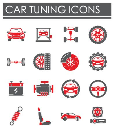 Car tuning related icons set on background for graphic and web design. Creative illustration concept symbol for web or mobile app