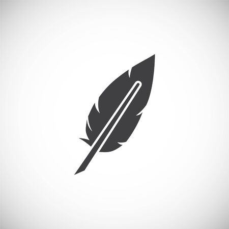 Feather icon on background for graphic and web design. Creative illustration concept symbol for web or mobile app 写真素材 - 143361913