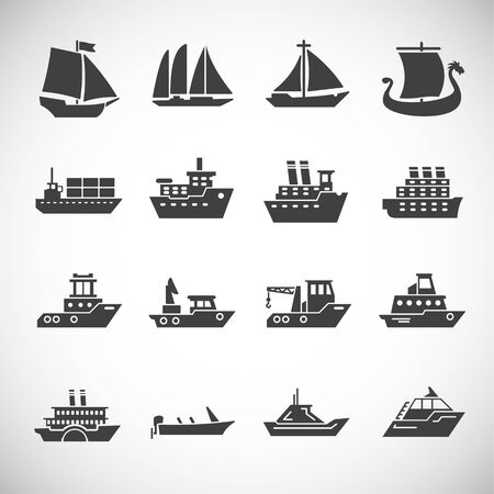 Ship related icons set on background for graphic and web design. Creative illustration concept symbol for web or mobile app. Vetores