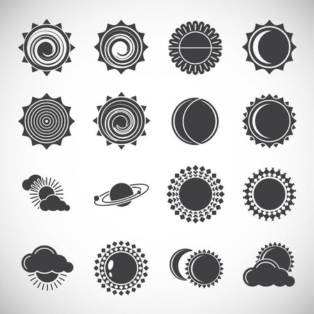 Sun related icons set on background for graphic and web design. Creative illustration concept symbol for web or mobile app.