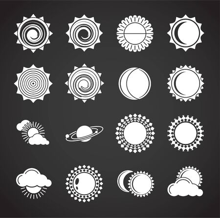 Sun related icons set on background for graphic and web design. Creative illustration concept symbol for web or mobile app 向量圖像