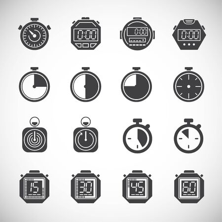 Stopwatch related icons set on background for graphic and web design. Creative illustration concept symbol for web or mobile app