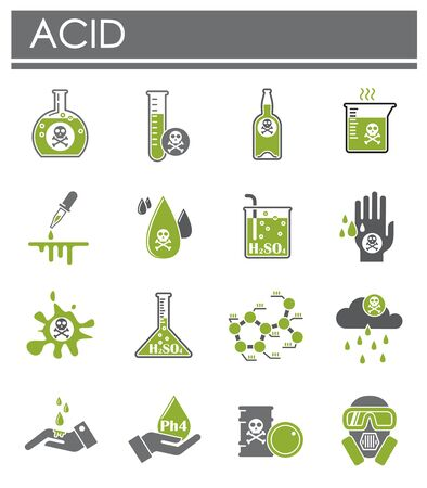 Acid related icons set on background for graphic and web design. Creative illustration concept symbol for web or mobile app