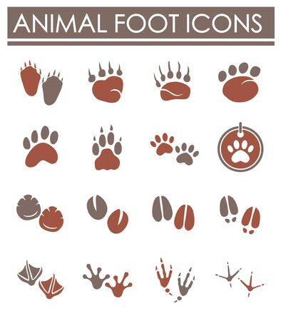Animal foot print icons set on background for graphic and web design. Creative illustration concept symbol for web or mobile app 向量圖像
