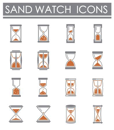 Sand watch related icons set on background for graphic and web design. Creative illustration concept symbol for web or mobile app