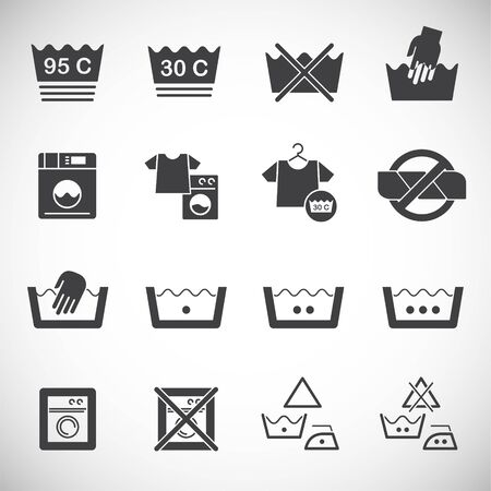 Laundry related icons set on background for graphic and web design. Creative illustration concept symbol for web or mobile app Vecteurs