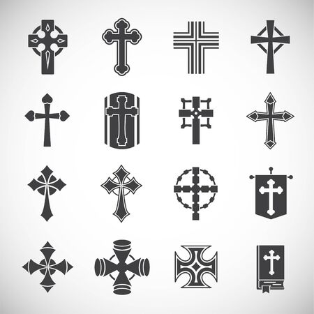 Cross icons set on background for graphic and web design. Creative illustration concept symbol for web or mobile app.