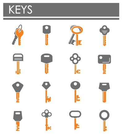 Key icons set on background for graphic and web design. Creative illustration concept symbol for web or mobile app