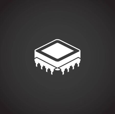 Processor chip related icon on background for graphic and web design. Creative illustration concept symbol for web or mobile app