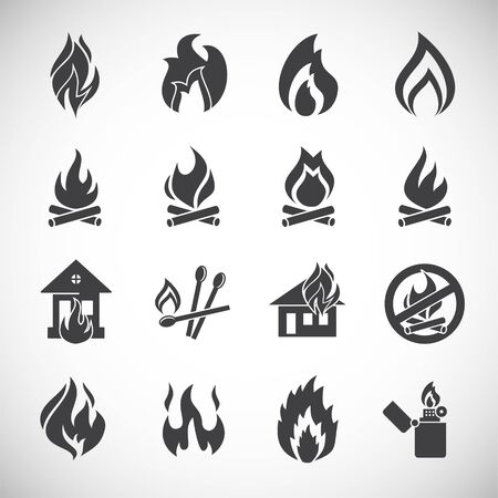 Fire related icons set on background for graphic and web design. Creative illustration concept symbol for web or mobile app. 向量圖像