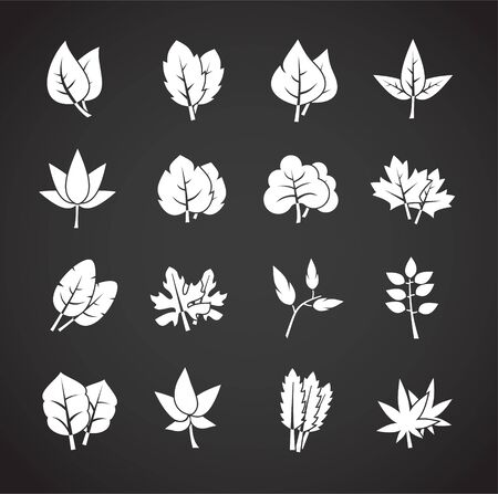 Leaf related icons set on background for graphic and web design. Creative illustration concept symbol for web or mobile app.