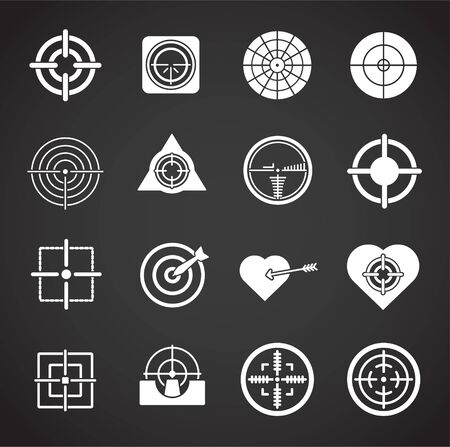 Aim related icons set on background for graphic and web design. Creative illustration concept symbol for web or mobile app.
