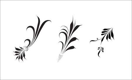 Decorative black elements of twigs, elements of Russian folk painting