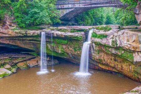 West Falls of the Black River in Cascade Park. Eliria. Ohio. USA Stock Photo