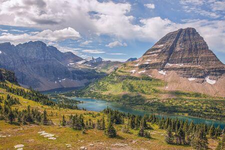 View of Hidden Lake from Hidden Lake Overlook. Glacier National Park. Montana. USA