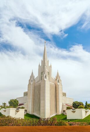 View of San Diego Temple from the west. La Jolla community. California. USA