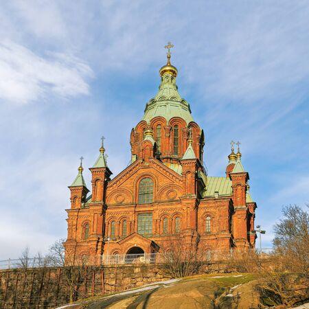 Uspenski Eastern Orthodox Cathedral on a sunny winter day. Helsinki. Finland