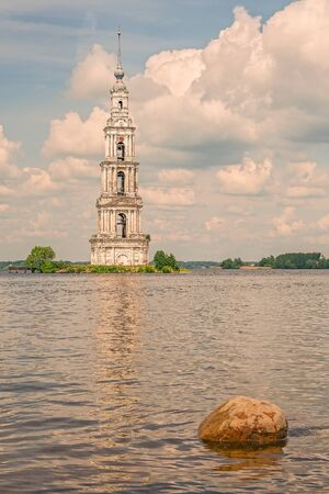 The Kalyazin Bell Tower (Flooded Belfry), part of the flooded monastery of St. Nicholas over the waters of the Uglich Reservoir on the Volga River. Tver Region. Russia Stock Photo