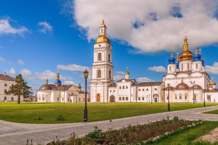 View of the churches of the Tobolsk Kremlin. Tyumen region. Russia. St. Sophia-Assumption Cathedral on the right